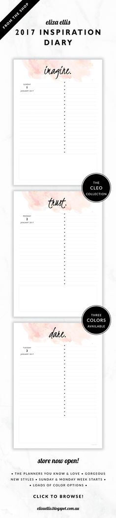 2017 Printable Daily Inspiration Planner // The Cleo Collection by Eliza Ellis. Gorgeous watercolor and handwritten type design. Make 2017 your best year yet – this gorgeous diary highlights a different inspirational word every single day. Simple design features a writing section, checklist and generous notes area. Bonus matching planner covers and annual calendar included. Available in 3 colors – fairyfloss, nimbus and sherbet. Monday and Sunday week starts included. Documents print to A4…