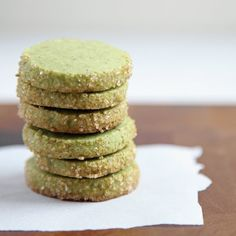 MATCHA ALMOND SHORTBREAD  7 tablespoons unsalted butter, at room temperature  6 tablespoons (1-1/2 ounces) powdered sugar, sifted  1 egg yolk, at room temperature  3/4 cup (3-3/4 ounces) all purpose flour  1/2 teaspoon kosher salt  6 tablespoons (1-3/4 ounces) almond meal  2 teaspoons matcha tea  2 tablespoons turbinado sugar