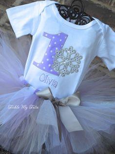 Winter ONEderland Lilac Polka Dot Snowflake Winter by TickleMyTutu