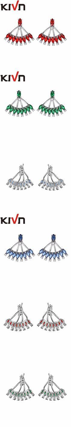 KIVN Fashion Jewelry Blue CZ Cubic Zirconia Bridal Wedding Earring Ear Jackets For Womens Girls Mothers Christmas Birthday Gifts