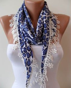 Dark Blue Leopard Shawl / Scarf with Lace Edge  by SwedishShop, $14.90