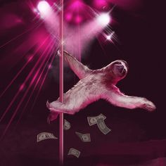 View Size Chart This sloth loves to climb for dollar bills. Imagine how long it would take her to pick them up!! This product was designed and printed by Sharp Shirter on 100% polyester. Please note t