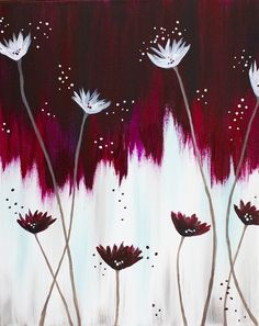 Burgundy and white opposites flower painting.