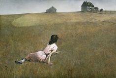 "Christina's World  Andrew Wyeth (American, 1917–2009)    1948. Tempera on panel, 32 1/4 x 47 3/4"" (81.9 x 121.3 cm)."