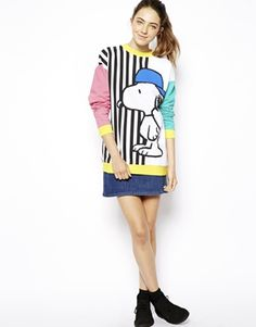 Image 4 of ASOS Sweatshirt with Skater Snoopy Stripes