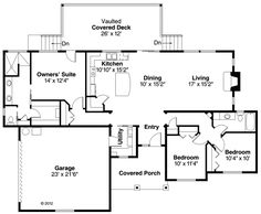 First Floor Plan of Country   Craftsman   Ranch   House Plan 60903