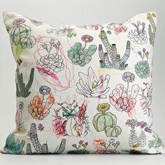 Frances White Picturebook West Coast Succulents Cushion Cover via etsy