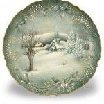 Revel in the peace of the season with this lovely depiction of a quiet winter scene, painted on a porcelain plate. Decorative painting.