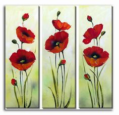 Hand Painted Oil Painting Floral Red Flower with Stretched Frame Set of 3 – USD… Oil Painting Flowers, Silk Painting, Watercolor Flowers, Pictures To Paint, Art Pictures, Acrylic Art, Flower Art, Canvas Wall Art, Mandala