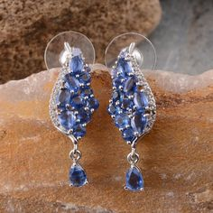 Himalayan Kyanite, White Topaz, and Tanzanite Earrings in Platinum Overlay Sterling Silver (Nickel Free)