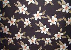 Plumeria Brown Tropical Hawaiian Plumeria Frangipani Flowers on a cotton Upholstery Fabric.  More fabrics at: BarkclothHawaii.com