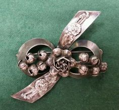 Hobe Vintage Sterling Silver 1930's Brooch Pin Bow Flowers | eBay