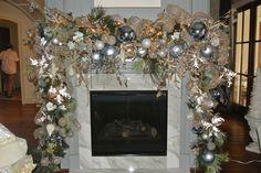 www.reginagust.com Elegant Christmas Decor, Christmas Swags, Christmas Tree Farm, Blue Christmas, Christmas Holidays, Christmas Fireplace Mantels, Christmas Time Is Here, Xmas Decorations, Christmas Inspiration
