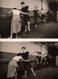 Love it! James Dean at the ballet bar with a young Elizabeth Taylor behind him, (I think).