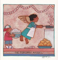 """""""The Popcorn Angel"""" original by Tomie dePaola available at the R. Michelson Galleries or at rmichelson.com."""