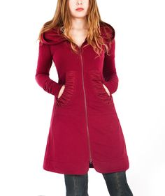 Maroon French Terry hoodie long classy gorgeous by Shovava on Etsy $148.00