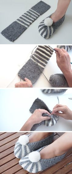 Super Easy Slippers to Crochet or to Knit - Design Peak - Best Knitting Pattern Knitting Designs, Knitting Patterns Free, Knitting Projects, Crochet Projects, Crochet Patterns, Blanket Patterns, Crochet Designs, Knitting Ideas, Easy Knitting
