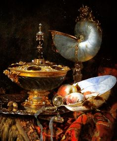 Willem Kalf Pronk - Still Life with Holbein Bowl, Nautilus Cup, Glass Goblet and Fruit Dish (1678)