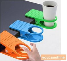 1pc Home Office School Drink Cup Coffee Mug Desk Lap Folder Table Holder Clip