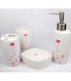 Modern Pink Flowers Texture Ceramic Bath Accessory Set CY 2059