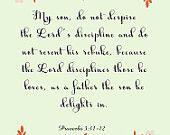 Christian Art- Proverbs 3:11-12- 8.5X11 Printable - BV-332