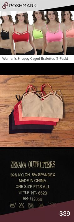 👙5 pack of strappy caged bralettes. 5 pack of adorable strappy caged bralettes. I ordered from Groupon for $39.99. I thought they had padding but I was mistake. These are super comfortable and the only kind of bra I wear so I was disappointed but ordered new ones and now want someone to have these :) exactly as they came. NWOT. Colors are black, grey, cream, red, and a salmon type neon pink. Intimates & Sleepwear