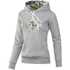 Adidas Topshop Logo Hoodie (85 CAD) ❤ liked on Polyvore featuring tops, hoodies, jackets, outerwear, 11. jackets/hoodies/coats., medium grey heather and adidas