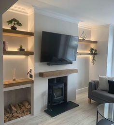 Alcove Ideas Living Room, Feature Wall Living Room, Living Room Shelves, Living Room Designs, Alcove Decor, Front Room Ideas Cosy, Alcove Lighting, Bedroom Alcove, Fireplace Feature Wall