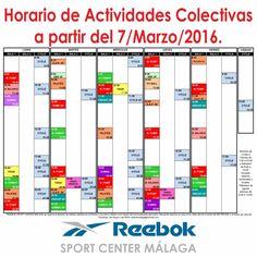 Nuevo horario de actividades colectivas a partir del 7/Marzo/2016. Dercárgalo en tamaño folio de http://reebokmalaga.com/horarios