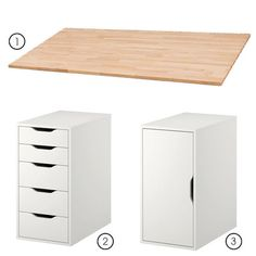 Make it yourself desk. Two ikea expedit 4 shelf organizers and a cut to fit sheet of melamine board. liquid nails and good day- 120 dollar oversized custom desk. Took 20 mins to build. IDK if I'd use IKEA stuff. Maybe the drawers & such from Target. Home Office Design, Home Office Decor, Ikea Expedit, Kallax Desk, Custom Desk, Diy Desk, Diy Office Desk, Ikea Office Hack, Ikea Hack Desk