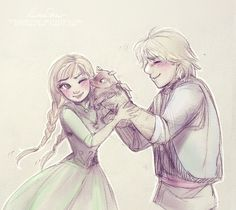 minnothebunny: obsessedwithfrozen42: mitsouparker: 'I think he likes you, Anna!' This idea was there for days, finally got it :D http://mitsouparker.deviantart.com/ Holy shit that's the most adorable thing in existence Omg omg