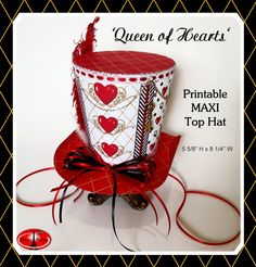Your place to buy and sell all things handmade Alice in Wonderland Queen of Hearts Mad Hatter Hat, LARGER Queen of Hearts Maxi Top Hat or Centerpiece, Tea Party Printable<br> Mad Hatter Party, Mad Hatter Tea, Mad Hatters, Diy Mad Hatter Hat, Frozen Birthday Party, Top Hat Centerpieces, Alice In Wonderland Tea Party, Diy Hat, Queen Of Hearts