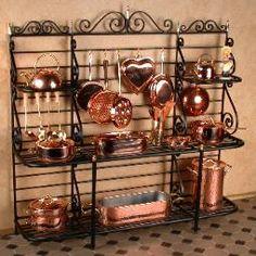 Miniature Wrought Iron Baker's Racks, Tables, Wine Racks, Pot Racks, Plate Racks by Jason Getzan. Miniature Rooms, Miniature Kitchen, Miniature Houses, Miniature Furniture, Dollhouse Furniture, Mini Kitchen, Copper Kitchen, Copper Pots, Diy Dollhouse