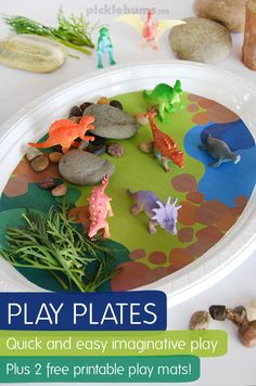 Play Plates - quick and easy imaginative play on a disposable plate! Plus 2 bonus free printable play mats for dino land and farm land play Dinosaurs Preschool, Dinosaur Activities, Preschool Activities, Preschool Prep, Toddler Fun, Toddler Crafts, Crafts For Kids, Small World Play, Play Mats