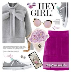 """""""Hey Girl!"""" by aidasusisilva ❤ liked on Polyvore featuring Converse, WithChic, L.K.Bennett, Fendi, Alexis Bittar and Forever 21"""