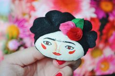 Frida Kahlo Brooch ♥ Day of the dead Special Edition  Handmade and hand painted fabric brooch.  A nice accessory for your coat, bag, scarf or
