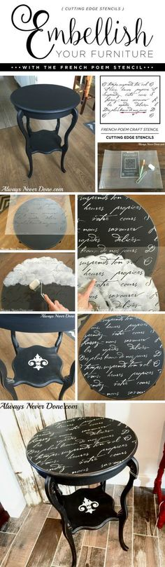 Cutting Edge Stencils shares a DIY side table makeover using the French Poem Craft Stencil and Chalk Paint. http://www.cuttingedgestencils.com/french-poem-diy-craft-stencil-design.html #industrialfurniture