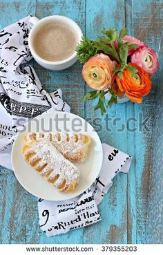 Sweet pastry filled with patisserie cream and coffee