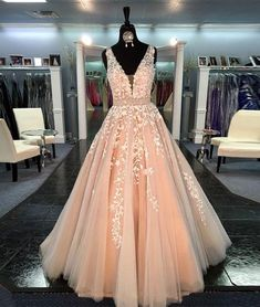 Unique v neck tulle lace long prom dress for teens, formal dress, prom picture