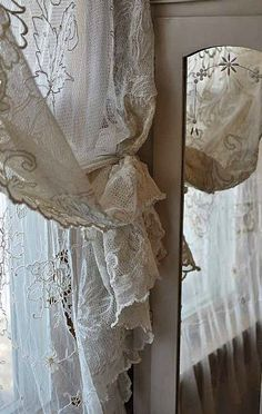 shabby chic lace curtains - home decor Antique Lace, Vintage Lace, Shabby Vintage, Vintage Room, Vintage Country, French Country, Window Coverings, Window Treatments, Lace Curtains