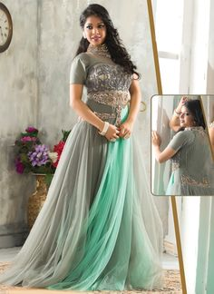 Opulent Grey Colour And Net Designer Salwar Suit