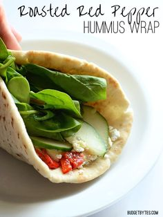 Skip the sandwich shop and make your own Roasted Red Pepper Hummus Wraps - BudgetBytes.com