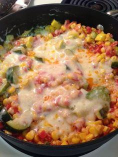 Cheesy Calabacitas  1 medium zucchini (halved lengthwise then sliced about 1/2 inch thick)  1 medium yellow squash (halved lengthwise then s...