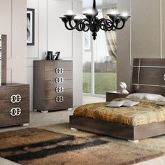 Bedroom with brown colour together with wooden bed frame and wooden dresser plus…