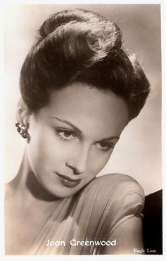 -Joan Greenwood, was a husky-voiced British actress who starred in many film comedies and stage plays in the 1940's and 50's.