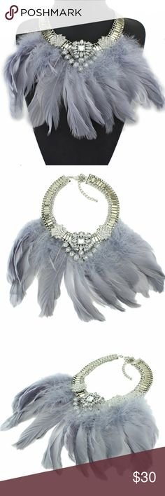 FEATHER AND CRYSTAL CHOKER NIP This is such a fun, statement piece. Pale gray feathers adorn a silver-tone and crystal choker. I love that the gray takes on a pale lavender look as well.  Lobster claw closure. New in packaging. Jewelry Necklaces