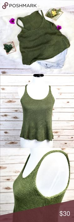 🌻 Green Knit Tank Top 🌼 Cute Breathable Knit Top  🌼 Stretchy Material  🌼 Great for Summer & Spring Time   ✔️No stains or odors  ‼️Very minor imperfection at top rim of top  ✔️But still overall in great condition  I am willing to ⬇️  the price, just like ❤️ the product and or leave me a comment! Tops Tank Tops