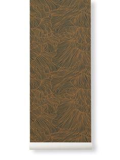 Ferm Living   Coral Wallpaper   Various Colours - Dark Green + Gold
