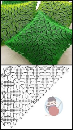 Crochet Cushion Pattern, Crochet Cushion Cover, Crochet Lace Edging, Granny Square Crochet Pattern, Crochet Pillow, Crochet Diagram, Crochet Chart, Crochet Squares, Thread Crochet