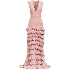 alaa pink couture long ruffle dress | object | sotheby's... ❤ liked on Polyvore featuring dresses, flounce dress, pink frilly dress, long ruffle dress, couture dresses and print dress